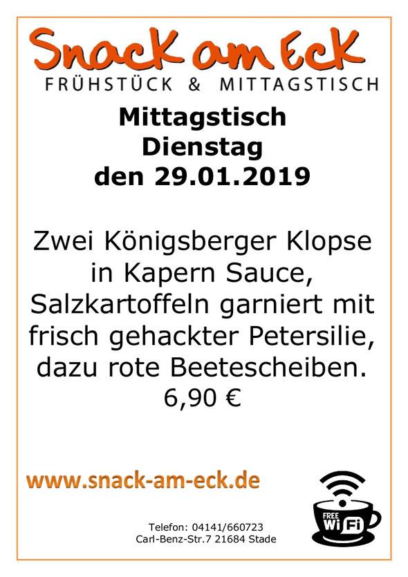 Mittagstisch am Dienstag den 29.01.2019: Zwei Königsberger Klopse in Kapern Sauce, Salzkartoffeln garniert mit frisch gehackter Petersilie, dazu rote Beetescheiben. 6,90 €