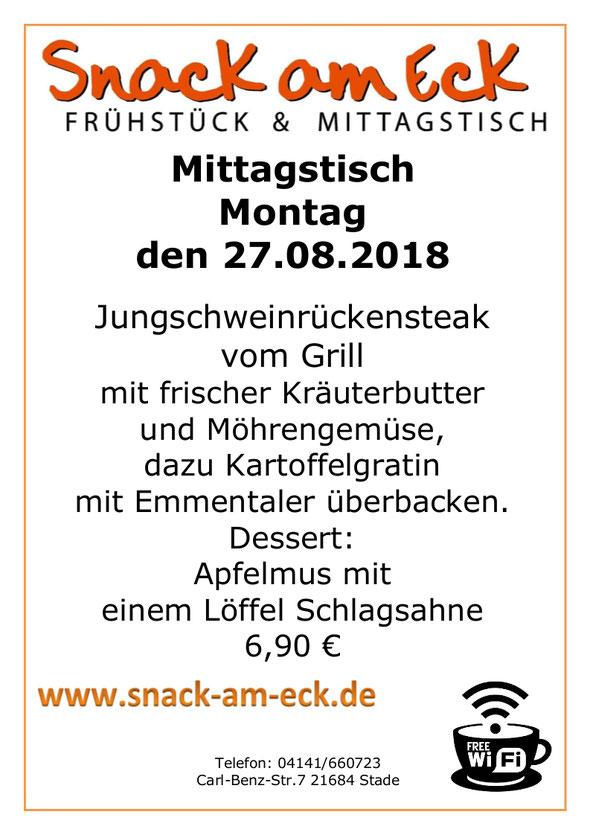 Mittagstisch am Montag den 27.08.2018: Jungschweinrückensteak vom Grill mit frischer Kräuterbutter und Möhrengemüse, dazu Kartoffelgratin mit Emmentaler überbacken. Dessert: Apfelmus mit einem Löffel Schlagsahne 6,90 €