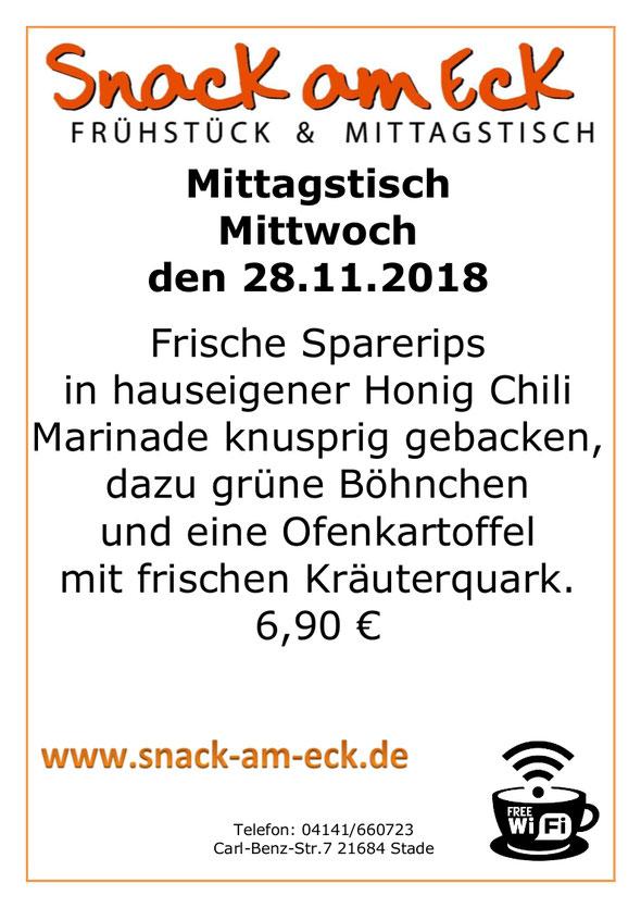 Mittagstisch am Mittwoch den 27.11.2018: Frische Sparerips in hauseigener Honig Chili Marinade knusprig gebacken, dazu grüne Böhnchen und eine Ofenkartoffel mit frischen Kräuterquark. 6,90 €