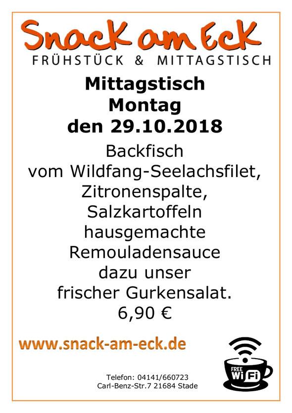 Mittagstisch am Montag den 29.10.2018: Backfisch, Kartoffeln, Remulade, Gurkensalat