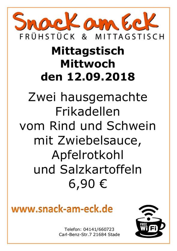 Mittagstisch am Mittwoch den 12.09.2018: Frikadellen Zwiebelsauce Rotkohl Salzkartoffeln