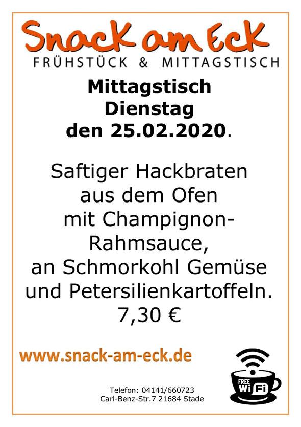 Mittagstisch am Dienstag den 25.02.2020: Saftiger Hackbraten aus dem Ofen mit Champignon-Rahmsauce, an Schmorkohl Gemüse und Petersilienkartoffeln.  7,30 €