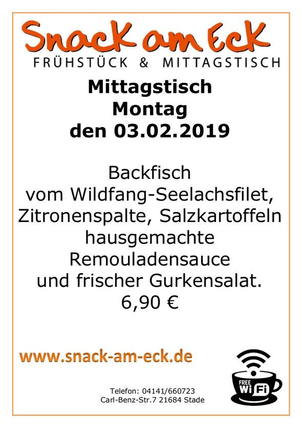 Mittagstisch am Montag den 03.02.2019: Backfisch vom Wildfang-Seelachsfilet, Zitronenspalte, Salzkartoffeln hausgemachte Remouladensauce und frischer Gurkensalat. 6,90 €