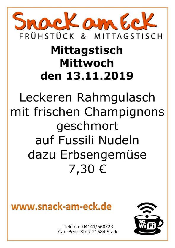 Mittagstisch am Mittwoch den 13.11.2019: Leckeren Rahmgulasch mit frischen Champignons geschmort auf Fussili Nudeln dazu Erbsengemüse 7,30 €