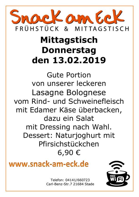 Mittagstisch am Donnerstag den 14.02.2019: Gute Portion von unserer leckeren Lasagne Bolognese vom Rind- und Schweinefleisch mit Edamer Käse überbacken, dazu ein Salat mit Dressing nach Wahl. Dessert: Naturjoghurt mit Pfirsichstückchen 6,90 €