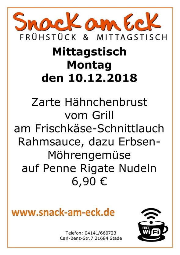Mittagstisch am Montag den 10.12.2018: Zarte Hähnchenbrust vom Grill am Frischkäse-Schnittlauch Rahmsauce, dazu Erbsen- Möhrengemüse auf Penne Rigate Nudeln 6,90 €