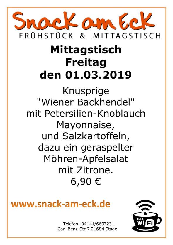 """mittagstisch am Freitag den 01.03.2019: Knusprige """"Wiener Backhendel""""  mit Petersilien-Knoblauch Mayonnaise,  und Salzkartoffeln, dazu ein geraspelter Möhren-Apfelsalat mit Zitrone. 6,90 €"""