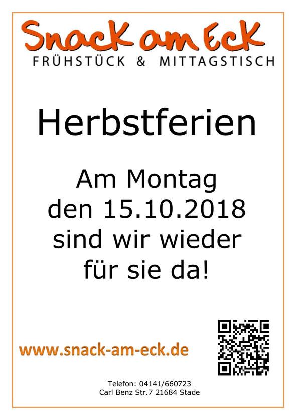 Herbstferien bis 14.10.2018
