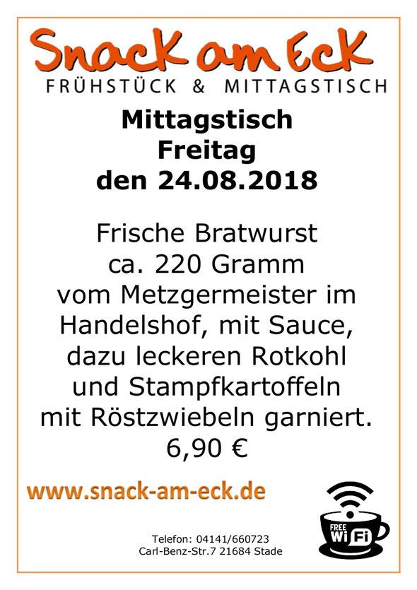 Mittagstisch am Fretiag den 24.08.2018: Frische Bratwurst ca. 220 Gramm vom Metzgermeister im Handelshof, mit Sauce, dazu leckeren Rotkohl und Stampfkartoffeln mit Röstzwiebeln garniert. 6,90 €