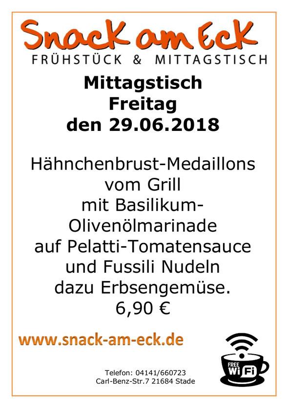 Mittagstisch am Freitag den 29.06.2018: Hähnchenbrust-Medaillons vom Grill mit Basilikum-Olivenölmarinade auf Pelatti-Tomatensauce und Fussili Nudeln dazu Erbsengemüse. 6,90 €
