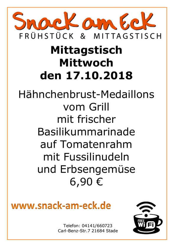Mittagtisch am Mittwoch den 16.10.2018: Hähnchenbrust-Medaillons vom Grill mit Frischer Basilikummarinade auf Tomatenrahm mit Fussilinudeln und Erbsengemüse. 6,90 €