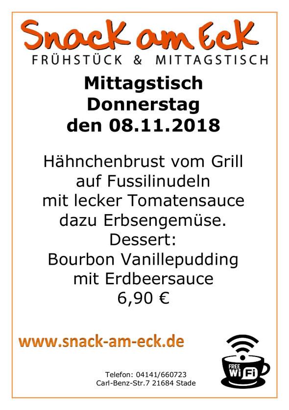 Mittagstisch am Donnersatag den 08.11.2018; Hähnchenbrust vom Grill auf Fussilinudeln mit lecker Tomatensauce dazu Erbsengemüse. Dessert: Bourbon Vanillepudding mit Erdbeersauce  6,90 €