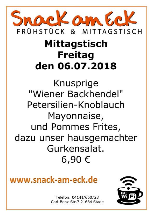 """Mittagstisch am Freitag den 06.07.2018: Knusprige """"Wiener Backhendel""""  Petersilien-Knoblauch Mayonnaise,  und Pommes Frites, dazu unser hausgemachter Gurkensalat. 6,90 €"""