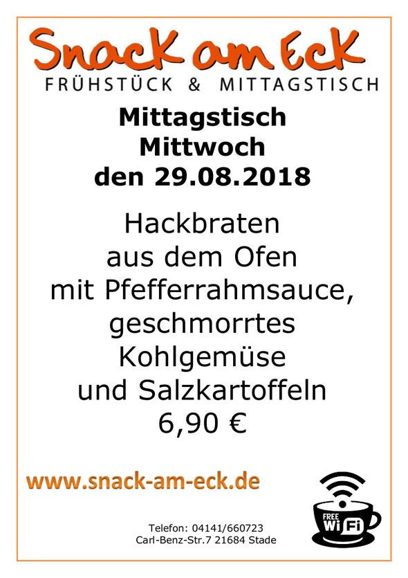 Mittagstisch am Mittwoch den 29.08.2018: Hackbraten aus dem Ofen mit Pfefferrahmsauce, geschmorrtes Kohlgemüse und Salzkartoffeln. 6,90 €