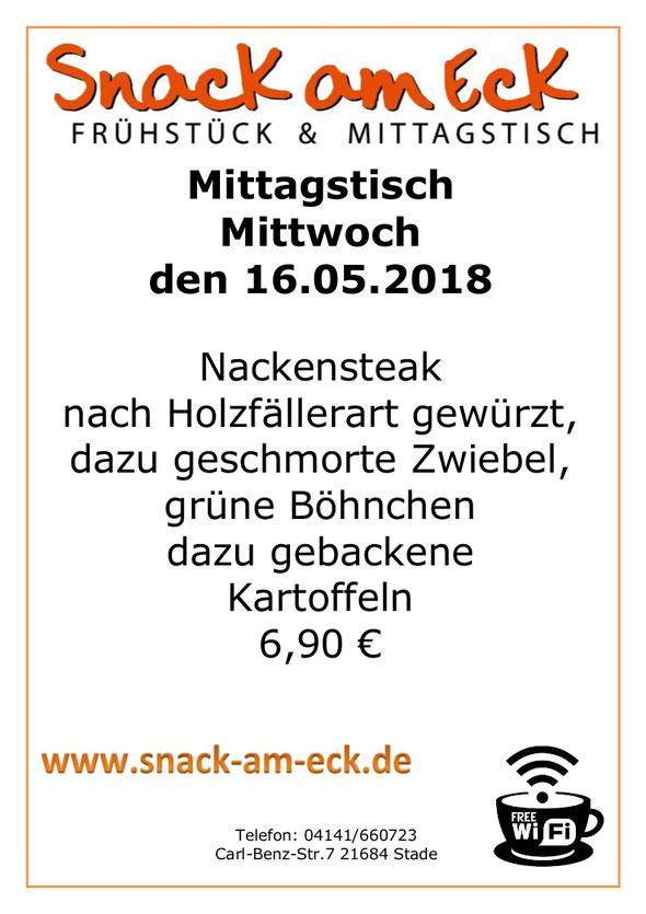 Mittagstisch am Mittwoch den 16.05.2018: Nackensteak nach Holzfällerart gewürzt, dazu geschmorte Zwiebel, grüne Böhnchen dazu gebackene Kartoffeln 6,90 €