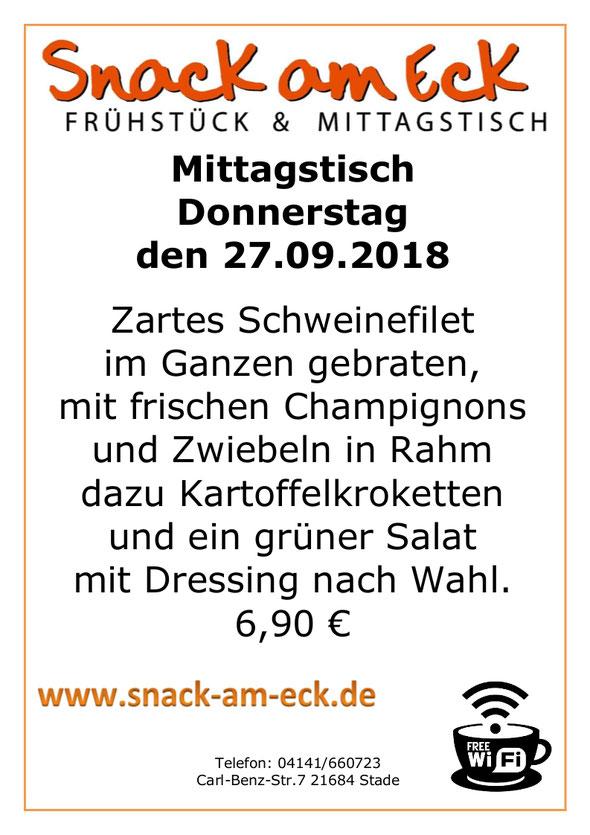 Mittagstisch am Donnerstag den 27.09.2018: Zartes Schweinefilet im Ganzen gebraten, mit frischen Champignons und Zwiebeln in Rahm dazu Kartoffelkroketten und ein grüner Salat mit Dressing nach Wahl. 6,90 €