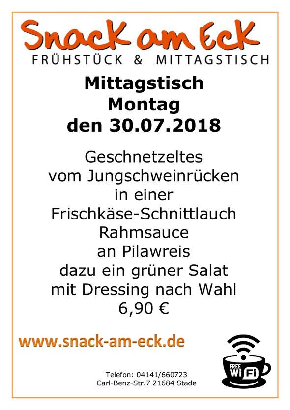Mittagstisch am Montag den 30.07.2018: Geschnetzeltes vom Schweinefilet in einer Frischkäse-Schnittlauch Rahmsauce an Pilawreis dazu ein grüner Salat mit Dressing nach Wahl 6,90