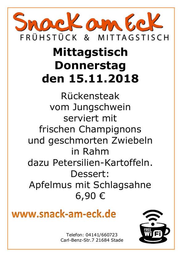 Mittagstisch am Donnerstag den 15.11.2018: Rückensteak vom Jungschwein serviert mit frischen Champignons und geschmorten Zwiebeln in Rahm dazu Petersilien-Kartoffeln. Dessert: Apfelmus mit Schlagsahne 6,90 €