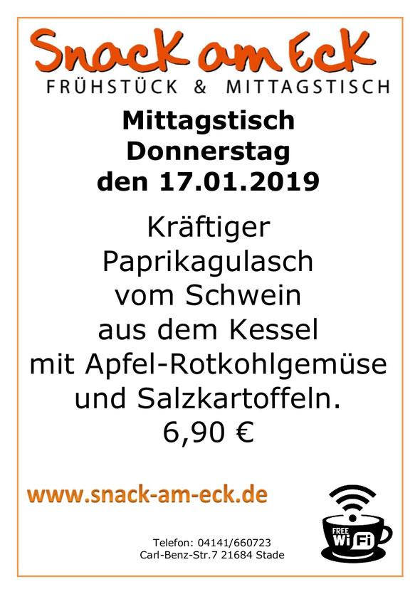 Mittagstisch am Donnnerstag den 17.01.2019Kräftiger Paprikagulasch vom Schwein aus dem Kessel mit Apfel-Rotkohlgemüse und Salzkartoffeln. 6,90