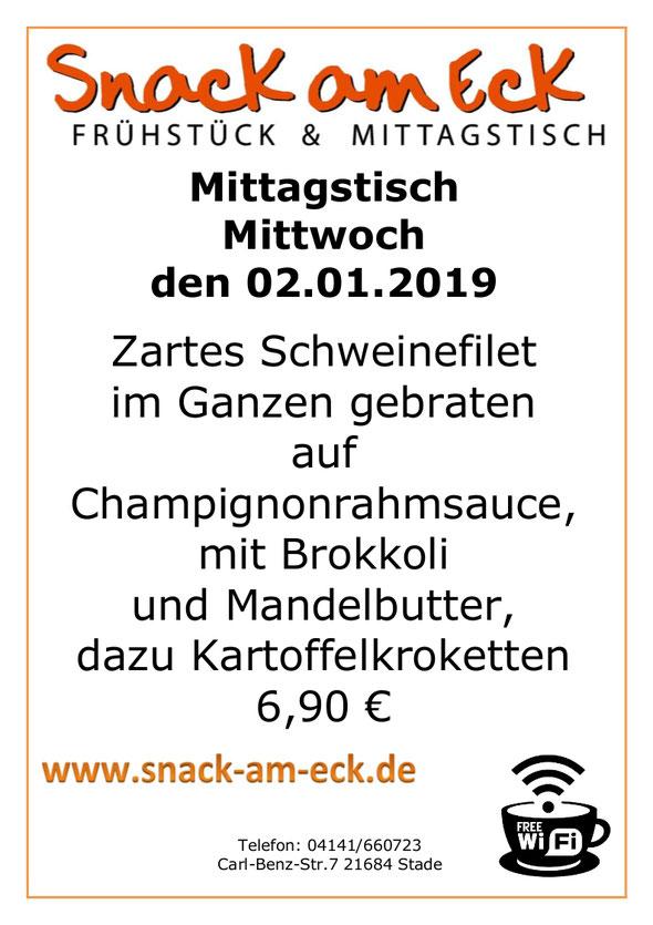 Mittagstisch am Mittwoch den 02.01.2019: Schweinefilet Pilzrahmsauce Brokkolie Kroketten