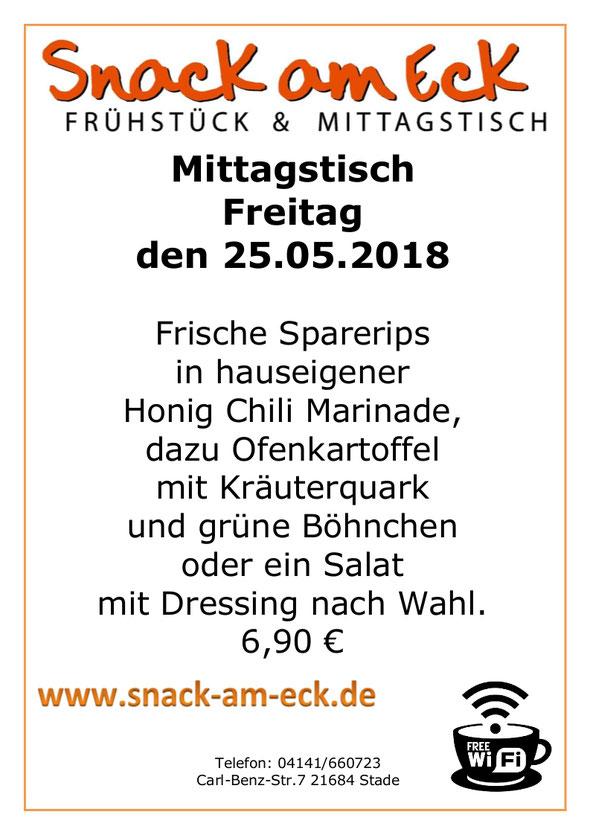 Mittagstisch am Freitag den 25.05.2018: Frische Sparerips in hauseigener Honig Chili Marinade, dazu Ofenkartoffel mit Kräuterquark und grüne Böhnchen oder ein Salat mit Dressing nach Wahl.  6,90 €