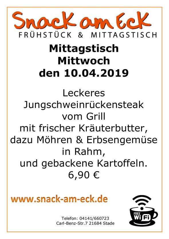 Mittagstisch am Mittwoch den 10.04.2019: Leckeres Jungschweinrückensteak vom Grill mit unserer frischer Kräuterbutter dazu Möhren & Erbsengemüse in Rahm, und gebackene Kartoffeln. 6,90 €
