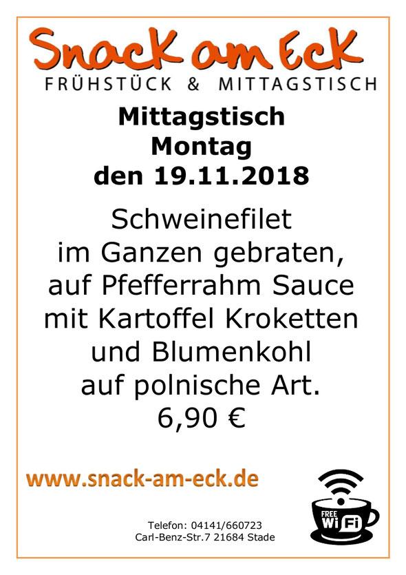 Mittagstisch am Montag den 19.11.2018: Schweinefilet im Ganzen gebraten, auf Pfefferrahm Sauce mit Kartoffel Kroketten und Blumenkohl auf polnische Art. 6,90 €