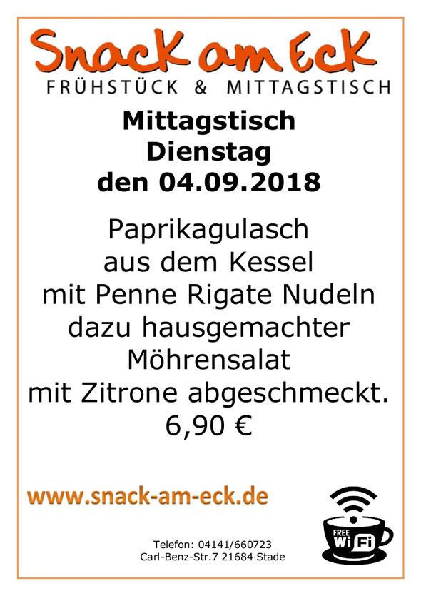 Mittagstisch am Dienstag den 04.09.2018: Paprikagulasch aus dem Kessel mit Penne Rigate Nudeln dazu hausgemachter Möhrensalat mit Zitrone abgeschmeckt. 6,90 €