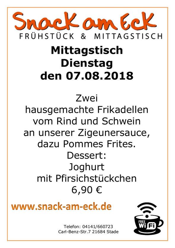 Mittagstisch am Dienstag den 07.08.2018: Zwei hausgemachte Frikadellen vom Rind und Schwein an unserer Zigeunersauce, dazu  Pommes Frites. Dessert: Joghurt mit Pfirsichstückchen 6,90 €
