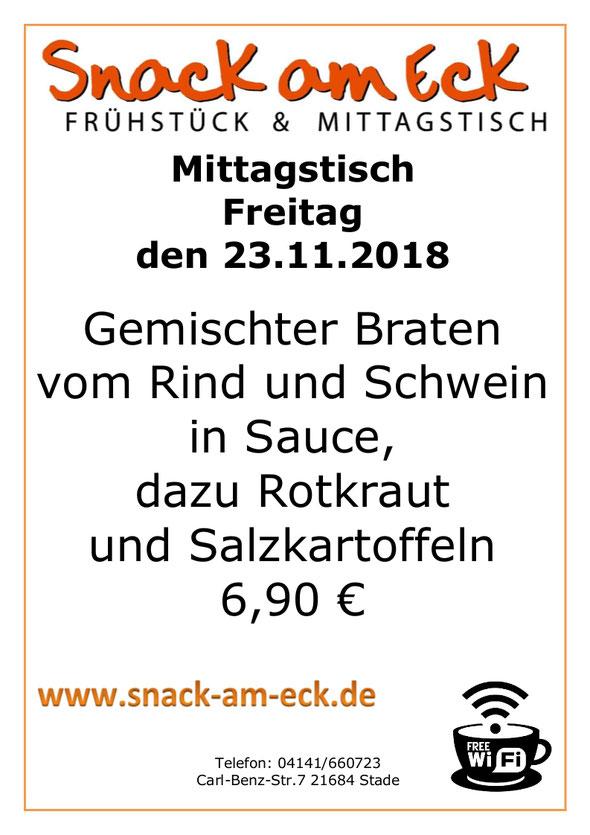 Mittagstisch am Freitag den 23.11.2018: Gemischter Braten vom Rind und Schwein in Sauce, dazu Rotkraut und Salzkartoffeln 6,90 €