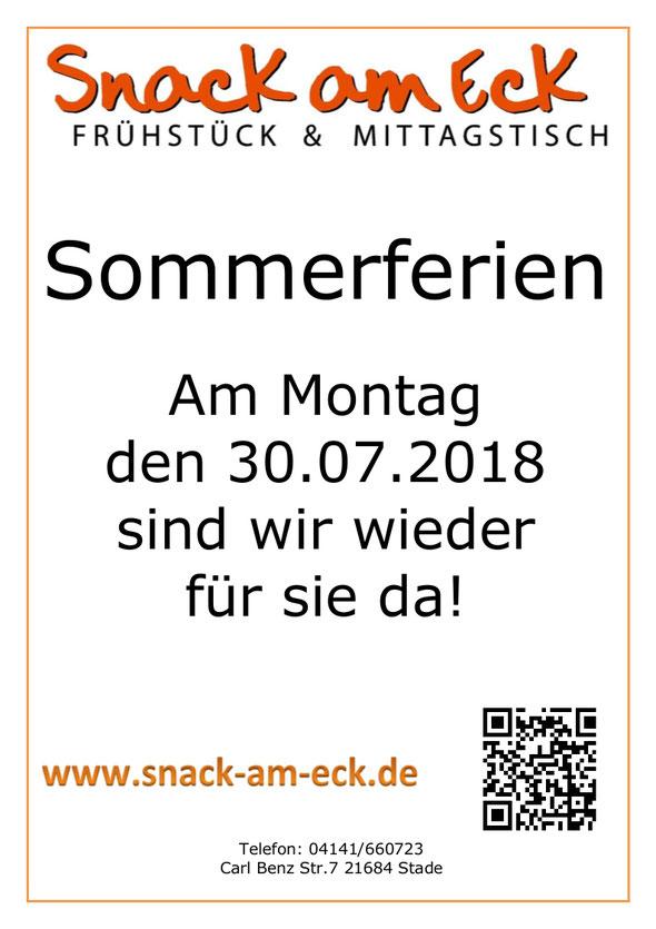 Sommerferien: Am Montag den 30.07.2018 haben wir wieder geöffnet!