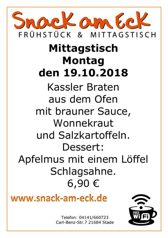 Mittagtisch am Montag den 22.10.2018: Leckeren Kassler Braten aus dem Ofen mit brauner Sauce, Wonnekraut und Salzkartoffeln. Dessert: Apfelmus mit einem Löffel Schlagsahne. 6,90 €