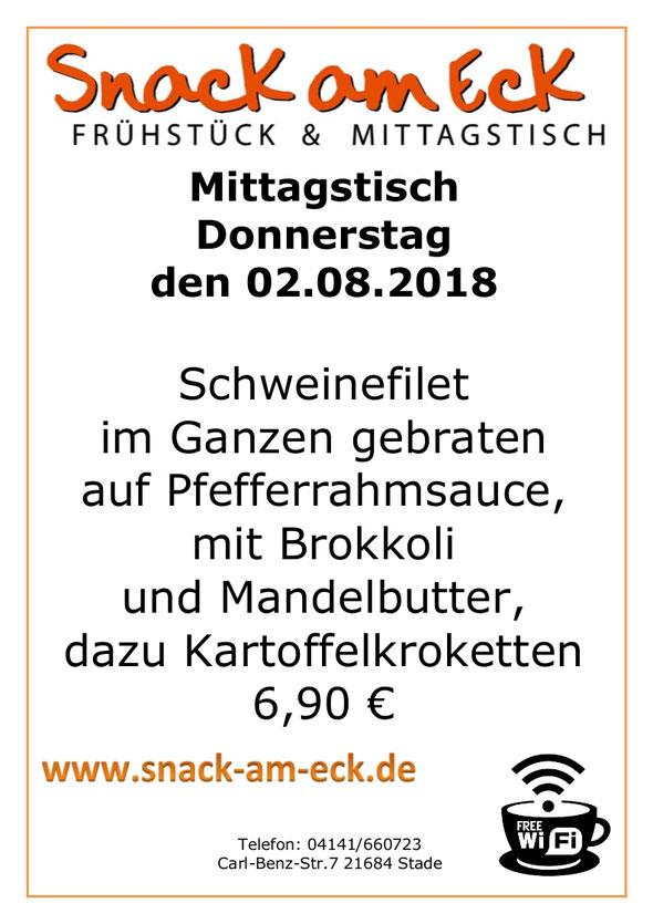 Mittagstisch am Donnerstag den 02.08.2018: Schweinefilet im Ganzen gebraten auf Pfefferrahmsauce, mit Brokkoli und Mandelbutter, dazu Kartoffelkroketten 6,90