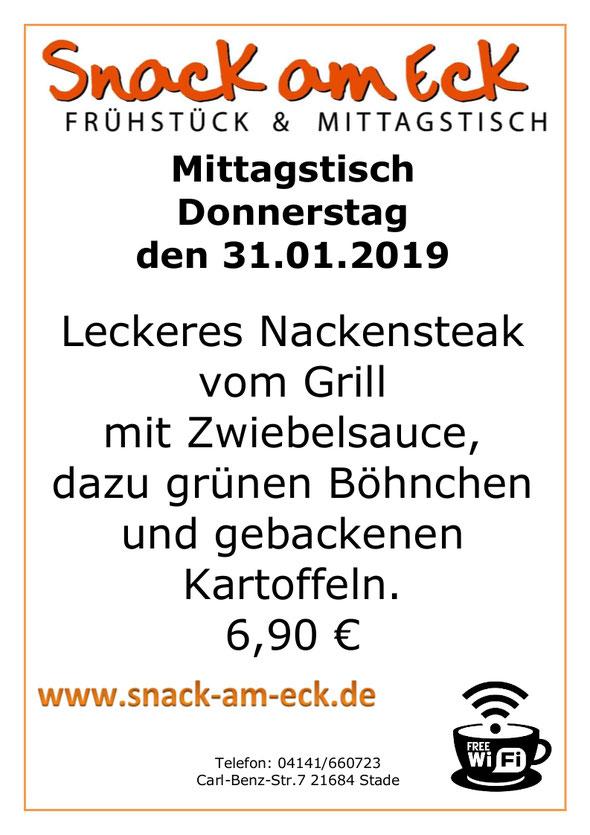 Mittagstisch am Donnerstag den 31.01.2019: Leckeres Nackensteak vom Grill mit Zwiebelsauce, dazu  grünen Böhnchen und gebackenen Kartoffeln. 6,90 €