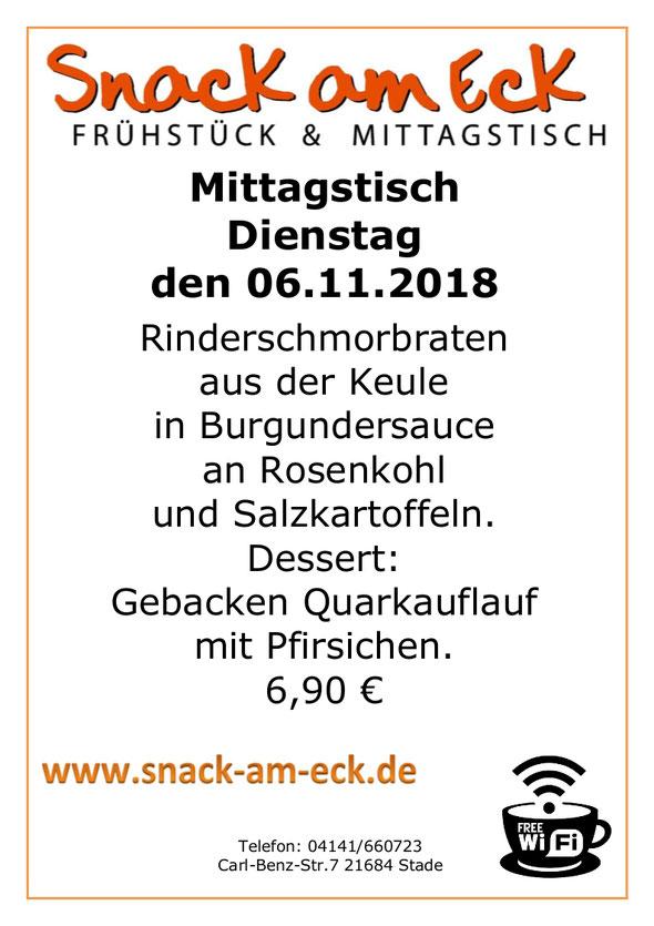 Mittagstisch am Dienstag den 05.11.2018: Rinderschmorbraten aus der Keule in Burgundersauce an Rosenkohl und Salzkartoffeln. Dessert: Gebacken Quarkauflauf mit Pfirsichen. 6,90 €