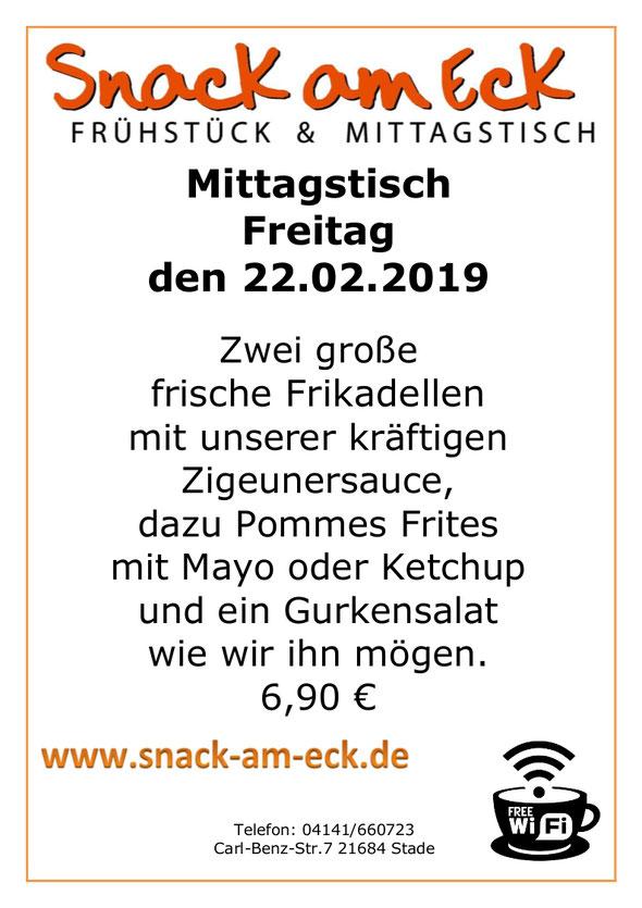 Mittagstisch am Freitag den 22.02.2019: Zwei große frische Frikadellen mit unserer kräftigen Zigeunersauce,dazu Pommes Frites mit Mayo oder Ketchup und ein Gurkensalat wie wir ihn mögen. 6,90 €