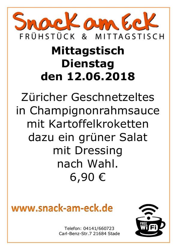 Mittagstisch am Dienstag den 12.06.2018: Züricher Geschnetzeltes in Champignonrahmsauce mit Kartoffelkroketten dazu ein grüner Salat mit Dressing nach Wahl. 6,90 €