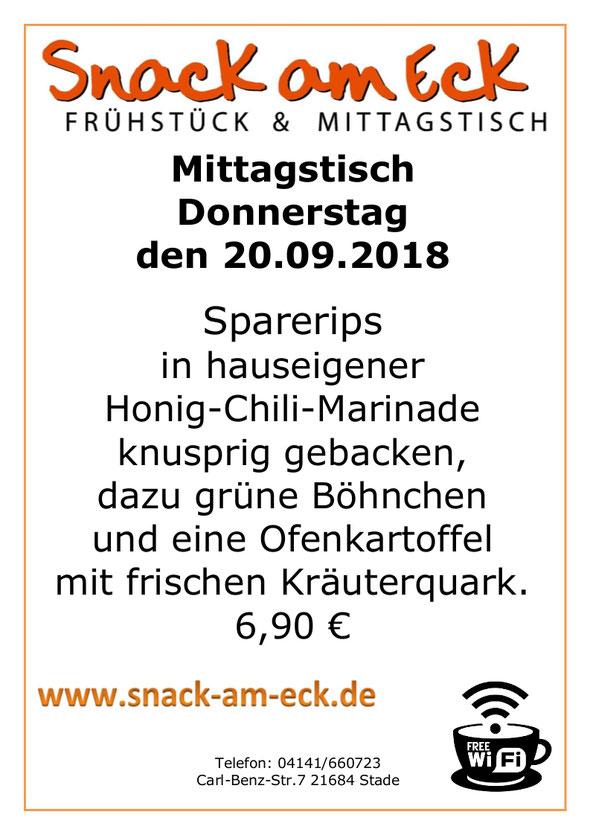 Mittagstisch am Donnerstag den 20.09.2018: Frische Sparerips in hauseigener Honig Chili Marinade knusprig gebacken, dazu grüne Böhnchen und eine Ofenkartoffel mit frischen Kräuterquark. 6,90 €