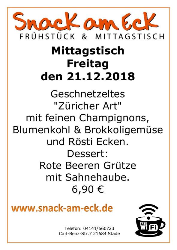 Mittagstisch am Freitag den 21.12.2018: Züricher Geschnetzeltes Rötsi Gemüse