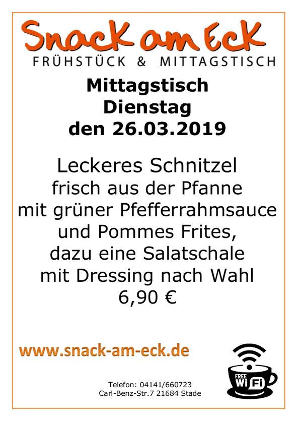 Mittagstisch am Dienstag den 27.03.2019: Leckeres Schnitzel frisch aus der Pfanne mit grüner Pfefferrahmsauce und Pommes Frites, dazu eine Salatschale mit Dressing nach Wahl 6,90 €