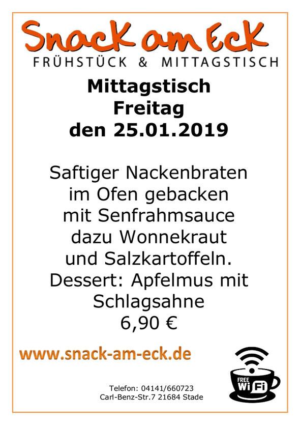 Mittagstisch am reitag den 25.01.2019: Saftiger Nackenbraten im Ofen gebacken mit Senfrahmsauce dazu Wonnekraut und Salzkartoffeln. Dessert: Apfelmus mit Schlagsahne 6,90 €