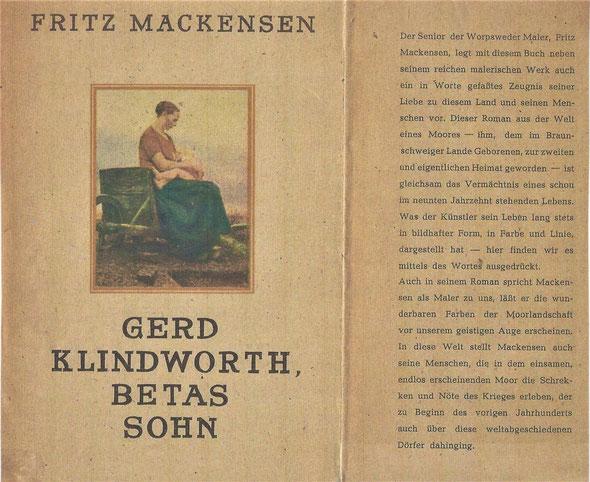 """""""Vermächtnis eines Lebens"""" – Roman von Fritz Mackensen, 1947. Gemälde auf dem Cover:  """"Der Säugling"""", 1892. Antiquarische Buchausgabe, Archiv Heimatverein Greene"""