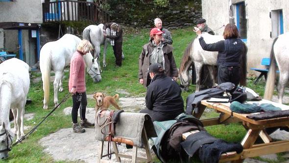 Cavaliers( gard, Var, Pau) +Bernard tour de France à cheval squattent à Sarbonnel : Soirée mémorable