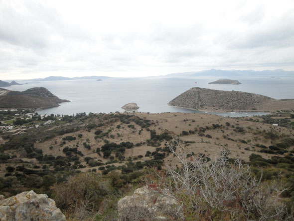 "View from ""Bozdag"" (mountain) to the bay of Gümüslük with Rabbit`s Island. Here was the beginning of Myndos."
