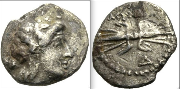 Myndos.  2nd-1st centuries BC.  AR Hemidrachm.  Head of Dionysos right, wearing ivy-wreath; thyrsos over shoulder / MUNDAIWN , Winged thunderbolt .