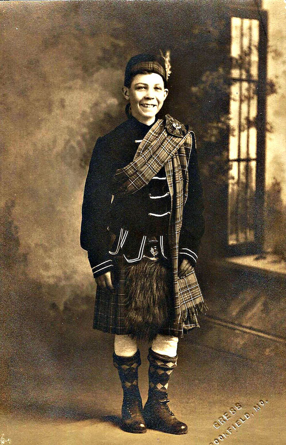 George McNish about 14 years old in traditional Scottish attire