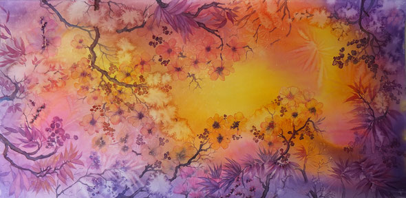 Fantaisie bucolique, aquarelle grand format : 52 x 101 cm