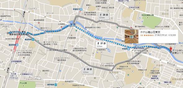 タンポポからの道のりマップを作ったよ♪ 神田川沿いの遊歩道を歩くのがお勧めです。