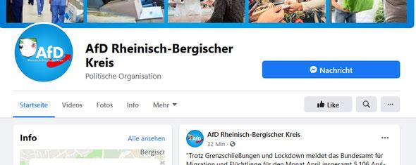 Facebookseite der AfD RBK mit dem Wappen  im Logo --- (Das Wappen wurde von mir unkenntlich gemacht)