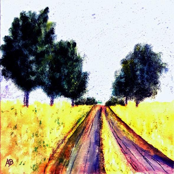 Feldweg, Acrylbild, Felder, Wald Bäume, Sommer, Weg, Himmel, Acrylmalerei, Acrylgemälde, Landschaftsbild, Kunst
